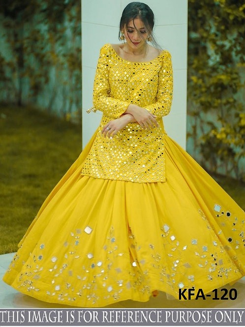 Thread Work, Mirror Work , Yellow Georgette Lahenga Choli