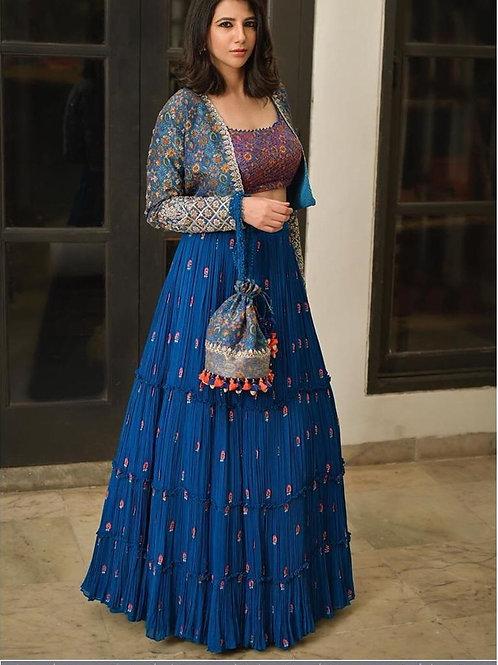 Designer New Blue lehenga choli with koti in georgette and silk