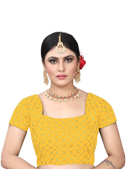 Latest Yellow Silk Readymade with Pad Blouse
