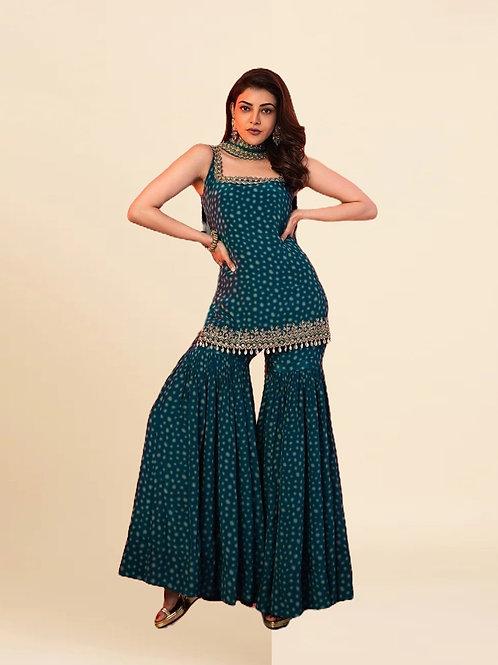 Kajal Agarwal Blue Silk Salwar Suit