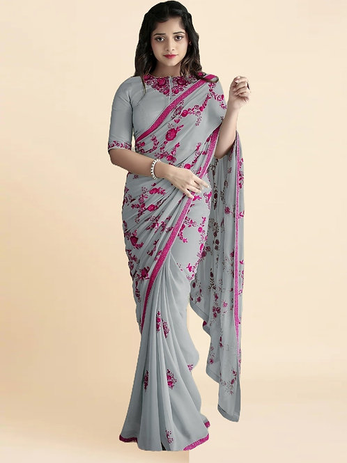 New Arrival Gray Georgette Saree