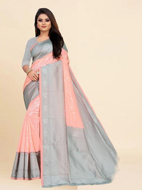 Buy Lichi Silk Peach Fancy Replica Saree