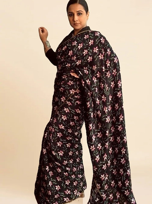 Vidya Balan New Arrival Black Digital Print Silk Saree