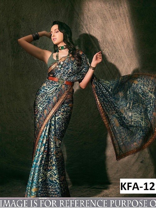 new collection, replica saree, nora fatehi saree heavy soft silk saree, printed saree, plain blouse, designer saree