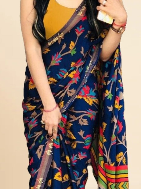 New Arrival Blue Silk Printed Saree