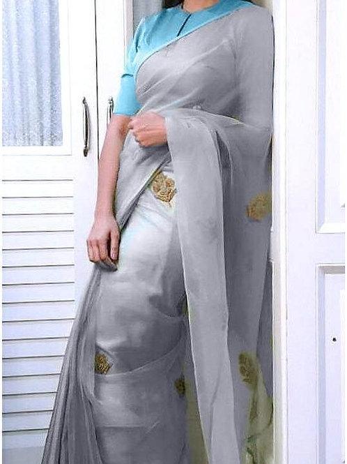 new collection, new arrival, heavy soft net saree, plain light blue blouse, gray saree, raplica saree