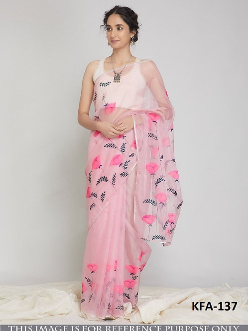organza silk saree, printed saree, silk saree, plain white blouse, new collection, under 1000