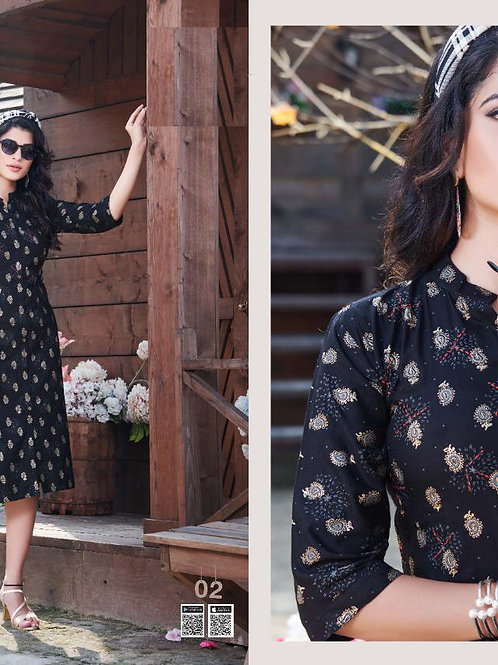 Kaavi Fab Stylish Heavy Slub Print Rayon With Manual Handwork Kurti