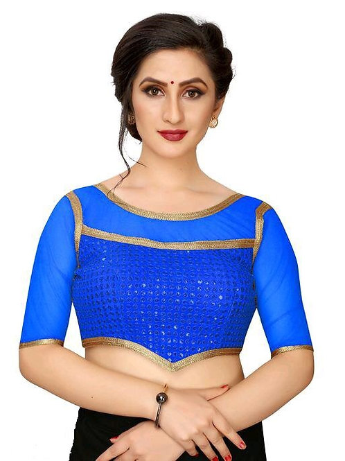 Latest Blue Silk Readymade with Pad Blouse