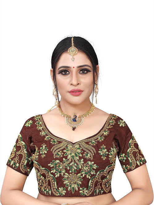 Latest Brown Silk Readymade with Pad Blouse