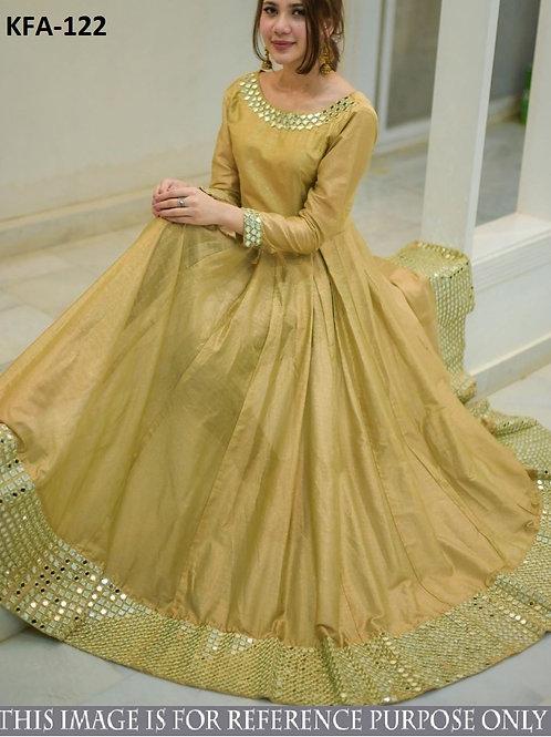 designer gown, heavy slub silk gown, golden gown, paper mirror work lace work, party wear gown, gown- 2020