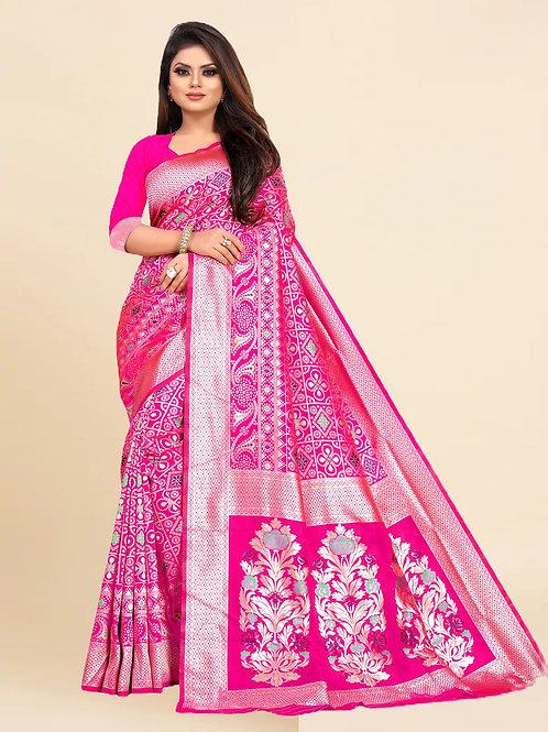 Buy Lichi Silk Pink Fancy Replica Saree