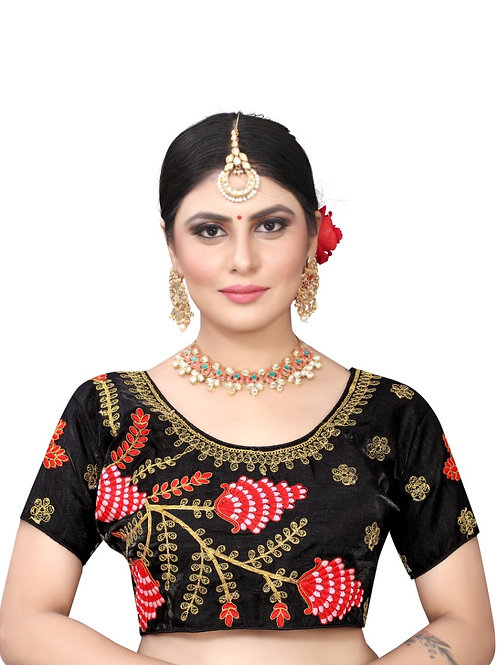 Latest Black Silk Embroidery Readymade with Pad Blouse