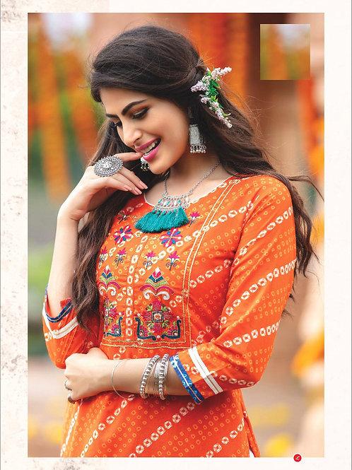 Kaavi Fab Most Awaited Designer Bandhani Print With Handwork Kurti With Plazo