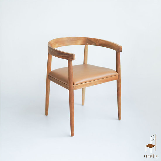 Lahti Leather Dining Chair - Solid Wood Furniture