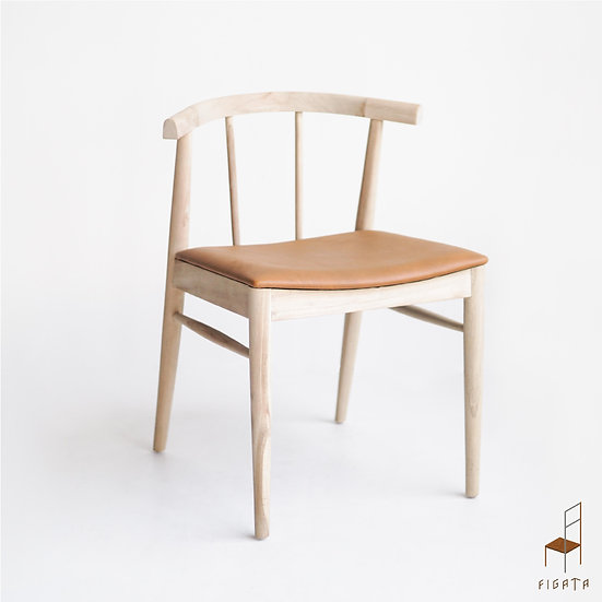 Cirasi Leather Dining Chair - Solid Wood Furniture