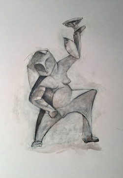 Woman balancing cup and shell