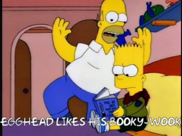 egg head likes his booky wook