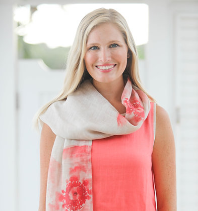 Linen Scarf with Coral Flower Print
