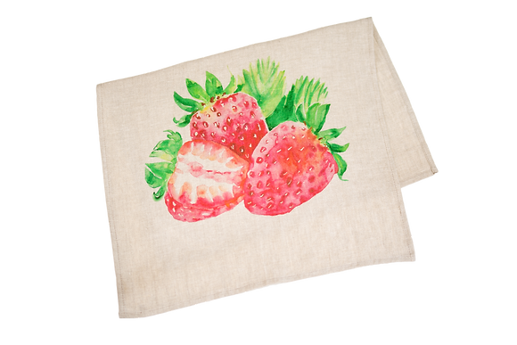 Tea Towel with Strawberries