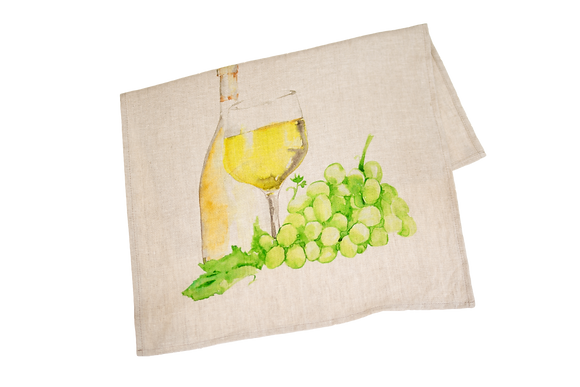 Tea Towel with White Wine