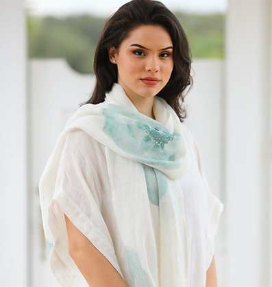 Linen Scarf with Seafoam Green Flower Print