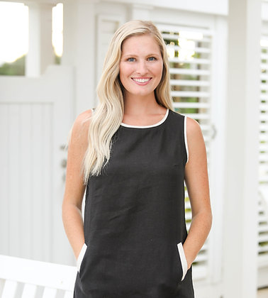 Crew Neck Dress Black with Natural