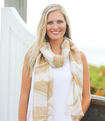 Linen Scarf with Gold Sand Print