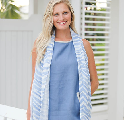 Linen Scarf with Blue Zebra Print