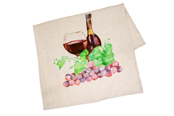 Tea Towel with Red Wine