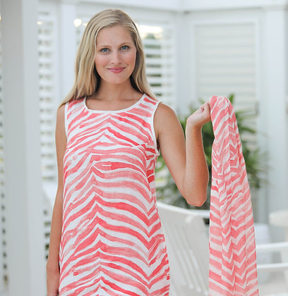 Linen Scarf with Coral Zebra Print