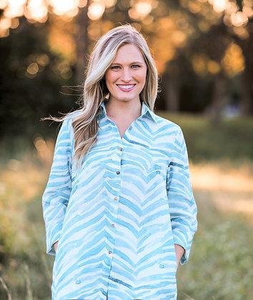 Classic Button Down Shirt Turquoise Zebra