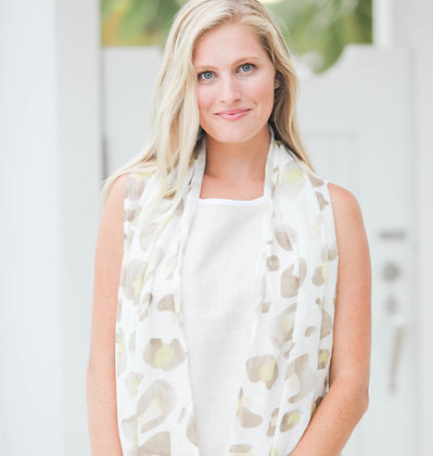 Linen Scarf with Natural Cheetah Print