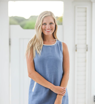 Crew Neck Dress Blue with Natural