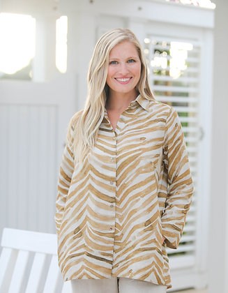Classic Button Down Shirt Gold Zebra