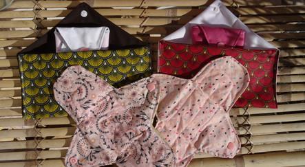pack serviettes hygiéniques lavables+ 2 pochettes de rangements