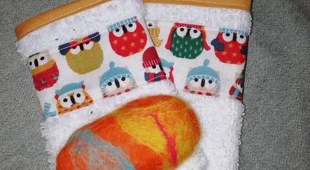 2 gants enfants+1 savon artisanales en laine de mouton