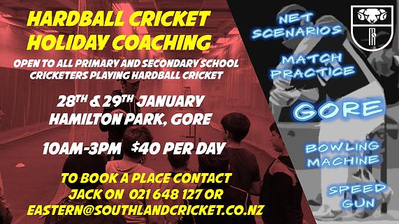 Southland Cricket Hardball Holiday Coach