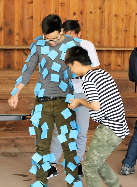 Internationl students playing a game