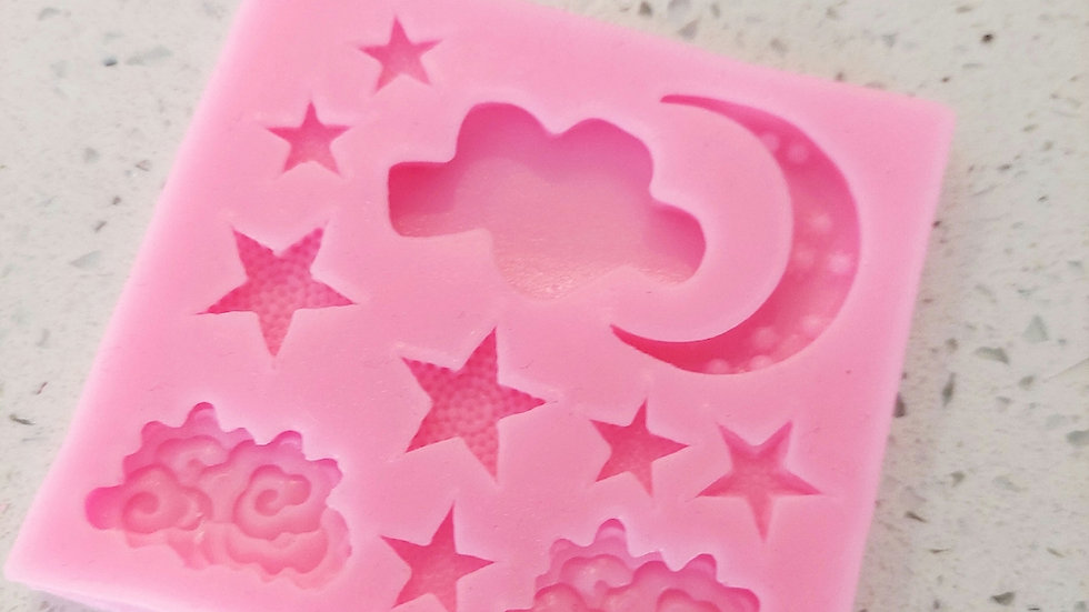 Silicone Moon, Stars & Clouds Mold