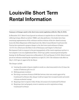 Louisville Short Term Rental Information