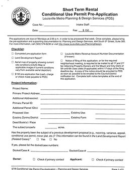 Louisville CUP Pre-Application Form Snip