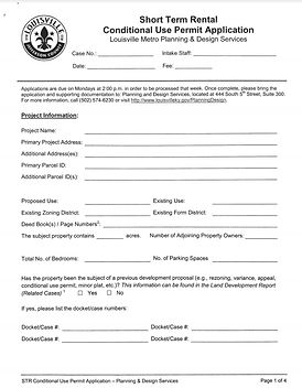 Louisville CUP Formal Application Form S