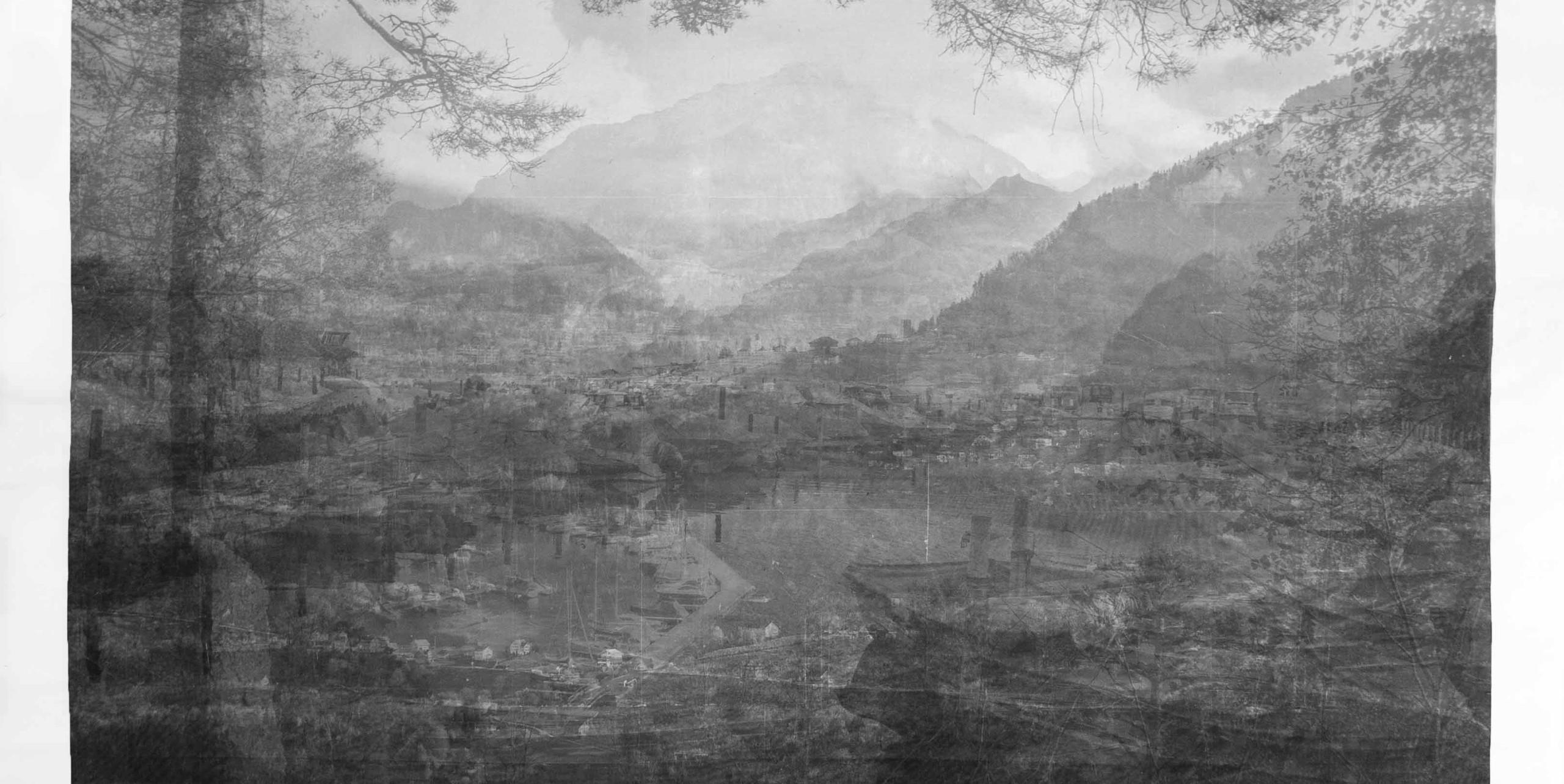 Die Gedanken verlieren in der traumhaften Realität, am See, in der Stadt, mit Sicht auf die Berge (2019) 210 x 140 cm