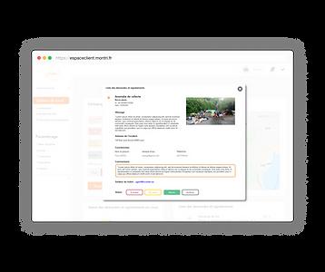 Back-office de l'application où l'on voit un échange de messages entre la collectivité et un usager