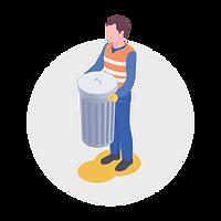 Pictogramme d'un homme éboueur portant une poubelle