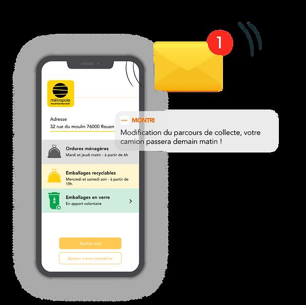 Interface de l'application Montri proposant les jours et heures de collecte des différentes poubelles et un enveloppe de notification