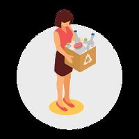 Pictogramme d'une femme portant un carton plein de déchet avec le sigle recyclable