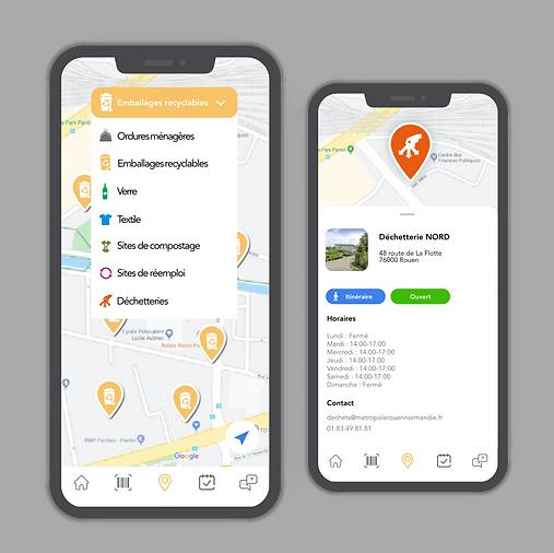 Deux smartphones permettant de localiser sur une carte les différents points de collecte des déchets sur Montri