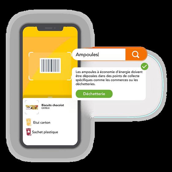 Interface de l'application qui permet de scanner les produits (ampoules)